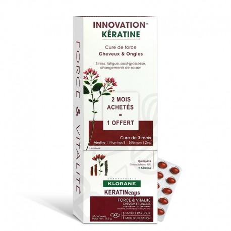 Klorane KeratinCaps Cure de force cheveux et ongles lot de 3 boites de 30 capsules