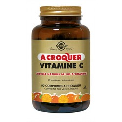 Solgar Vitamine C 500 mg à croquer arôme natuerl orange 90 comprimés