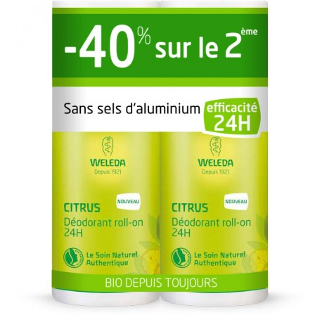 Weleda déodorant roll-on 24 H citrus Offre Duo 2x50 ml