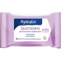 Hydralin Quotidien 10 Lingettes douces biodégradables