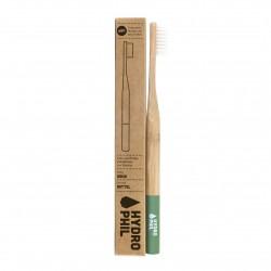 Hydrophil Brosse à dents durable en bambou vert moyen doux