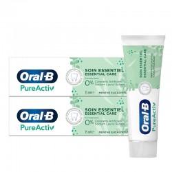 Oral-B Dentifrice PureActiv Soin Essentiel lot 2x75ml