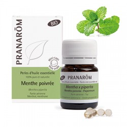 Pranarôm Perles d'huile essentielle bio Menthe poivrée 60 perles
