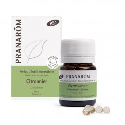 Pranarôm perles d'huiles essentielles de citronnier Bio - 60 Perles
