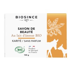Biosince 1975 Savon de beauté au lait d'ânesse Bio Karité sans parfum 100g