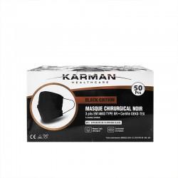 Karman Masques médicaux IIR noirs 3 plis avec barrette nasale, 3 couches, 100% polypropylène non tissé.