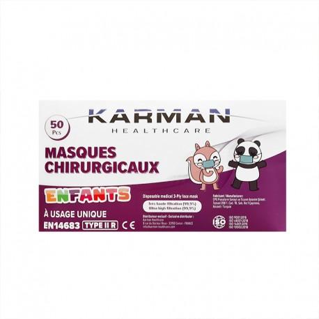 Karman Masques médicaux IIR 3 plis Taille enfant - 50 masques