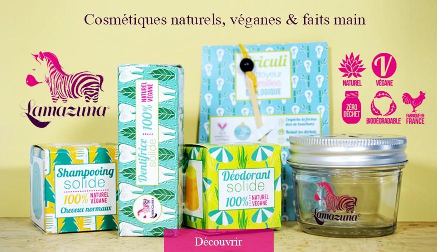 Cosmétiques naturels, véganes et faits main, made in France.