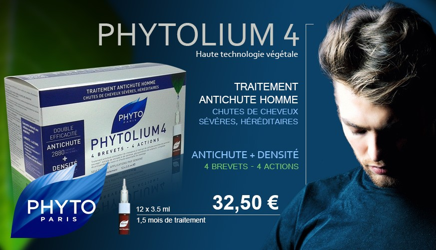 Phytolium 4, traitement contre la chute de cheveux sévère, héréditaire homme